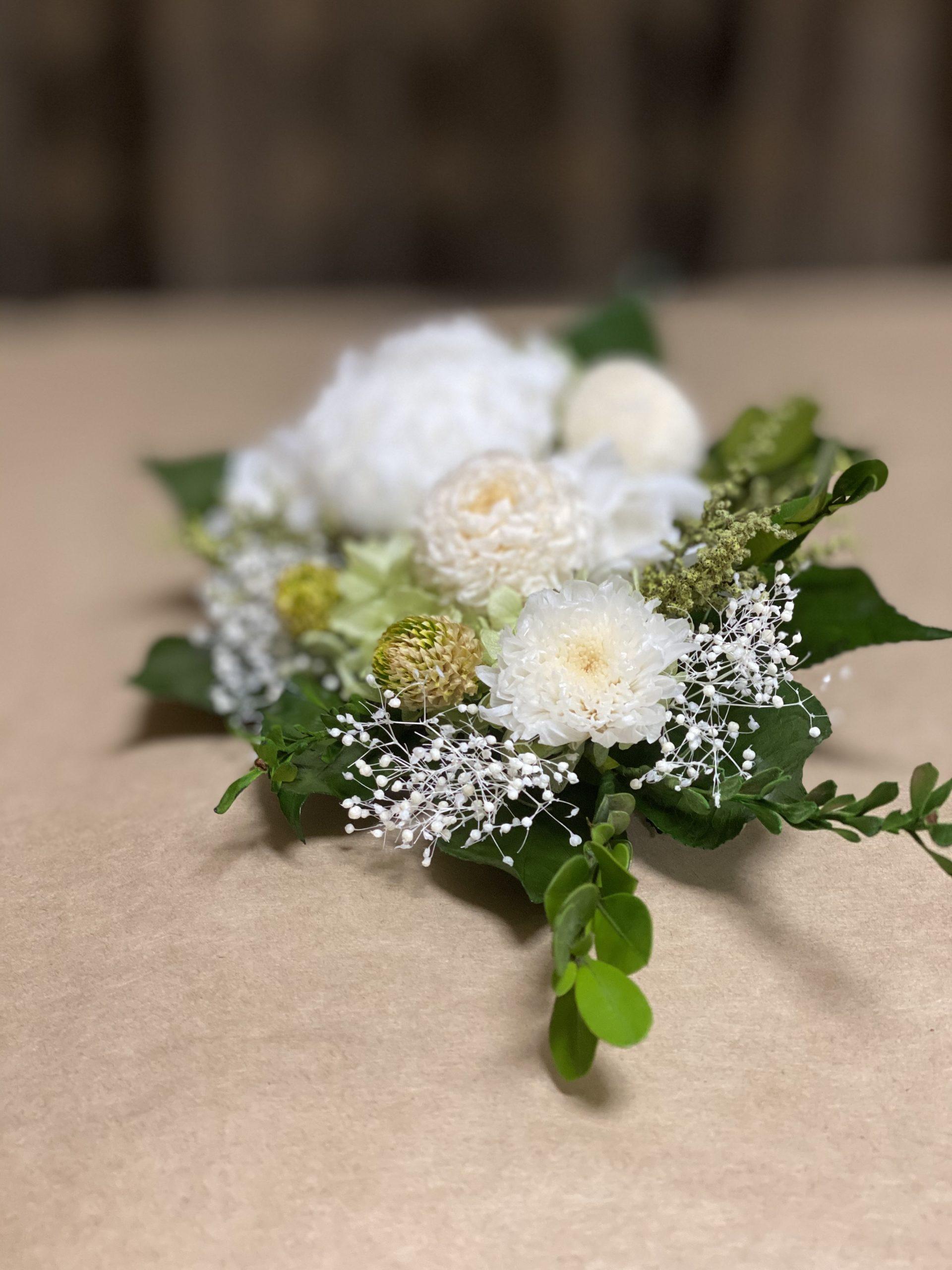 白いお花のプリザーブド仏花
