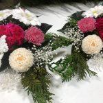 白いガーベラの仏花