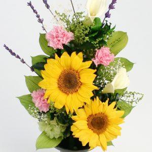 ひまわりの仏花アレンジメント
