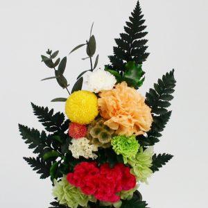 ケイトウの仏花アレンジメント