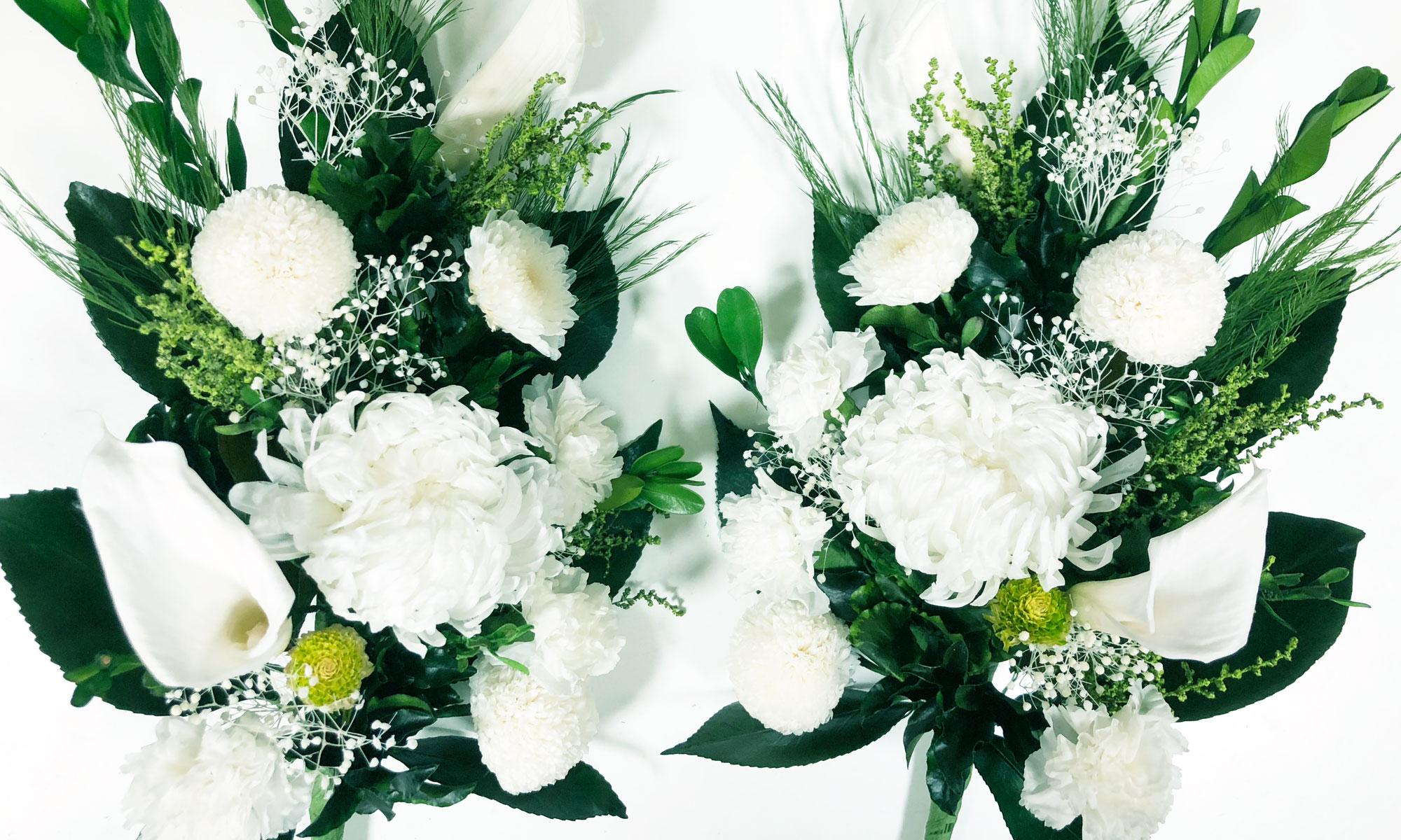白いプリザーブド仏花